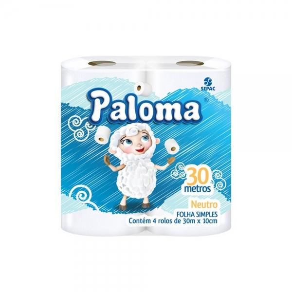 Papel Higiênico Branco Folha Simples Paloma 30m c/4