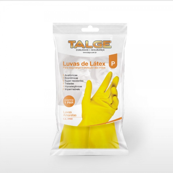 Luva Látex Forrada Amarela Grande Talge