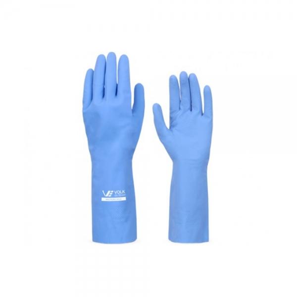Luva Látex Forrada Azul Multiuso 30cm sem Amido Média Volk